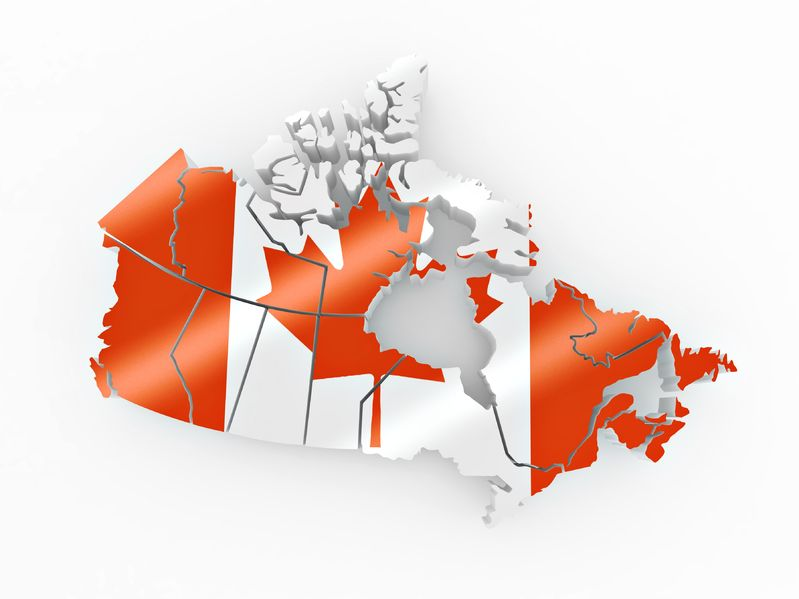 8779517 - map of canada in canadian flag colors. 3d